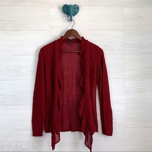 Eileen Fisher PS Red Linen Blend Ruffle Cardigan